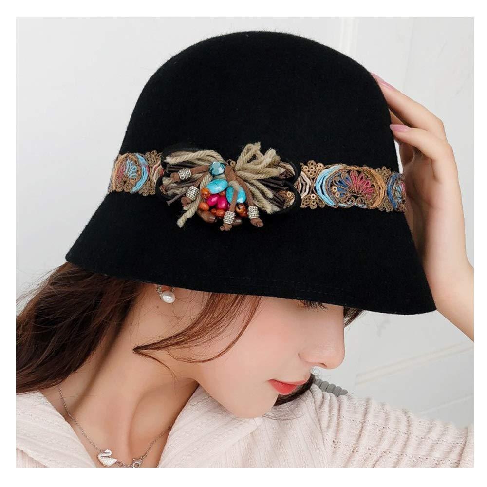 MUMUWU Women Wool Bowler Hat Colour Embroidery Winter Autumn Retro Winter Ladies Headdress Dome Flower Hat (Color : Black, Size : 56-58CM)