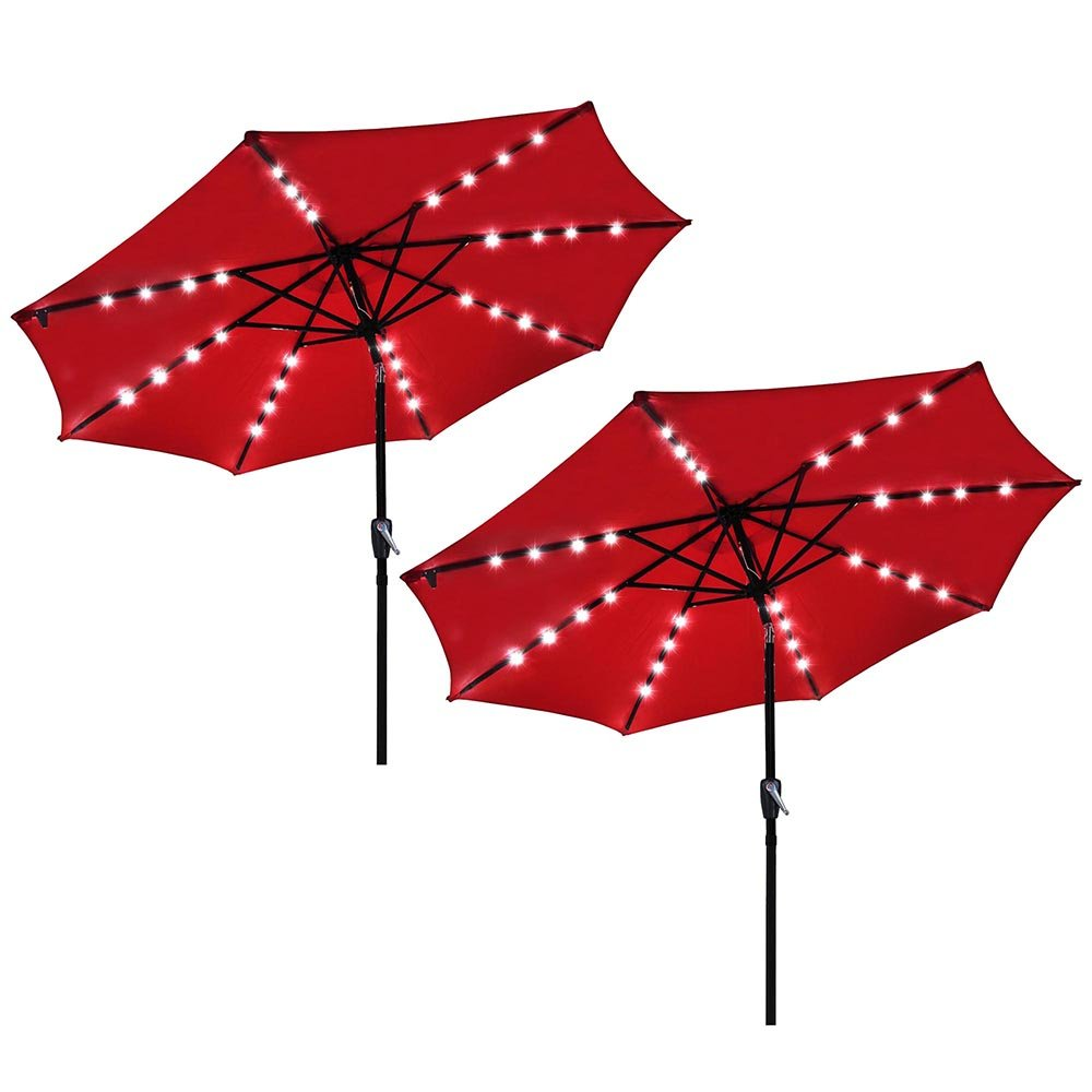 Yescom 9 Outdoor Solar Powered LED Umbrella 8 Ribs w 32 Lights for Patio Garden Deck Crank Tilt UV30 Red Pack of 2