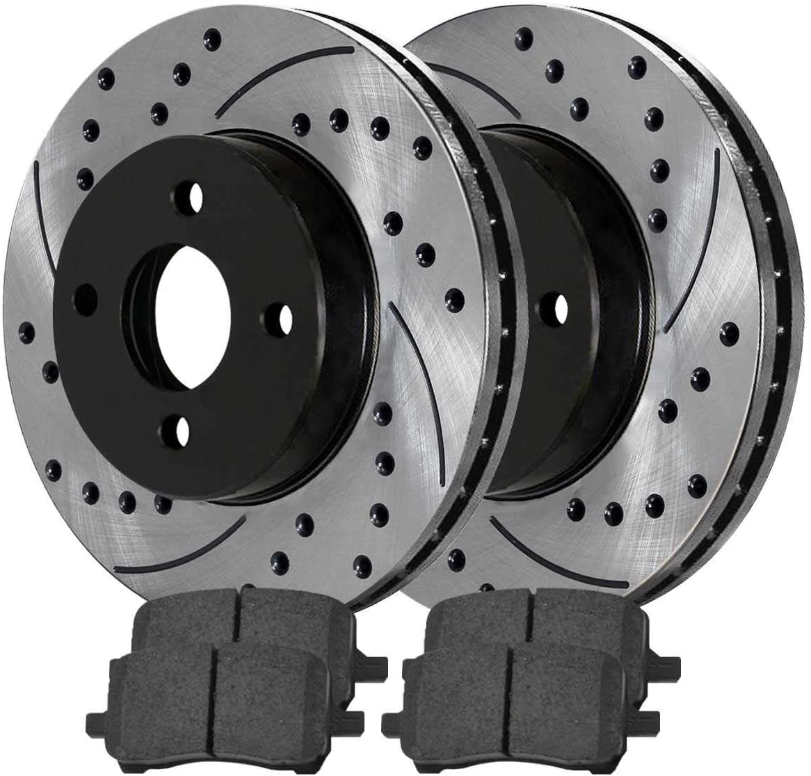 Auto Shack SMKPR6508565085956 2 Front Performance Drilled and Slotted Brake Rotors and Semi Metallic Brake Pads Set