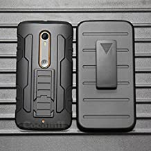 Motorola Moto X Play / DROID Maxx 2 Case, Cocomii Robot Armor NEW [Heavy Duty] Premium Belt Clip Holster Kickstand Shockproof Hard Bumper Shell [Military Defender] Full Body Dual Layer Rugged Cover (Black)