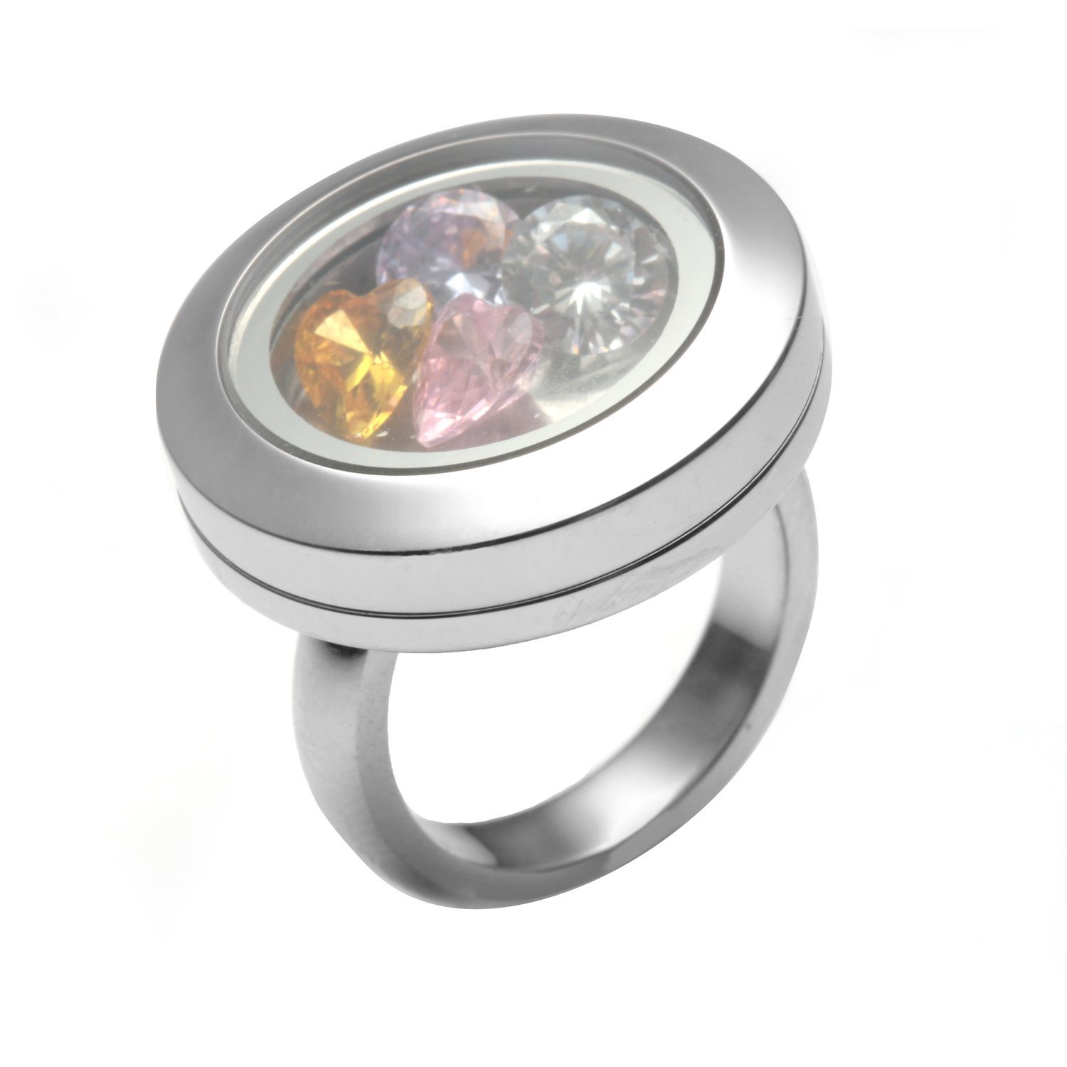 EVERLEAD Latest Open Floating Charm Locket Ring with Crystal (Size 7 (Simple))