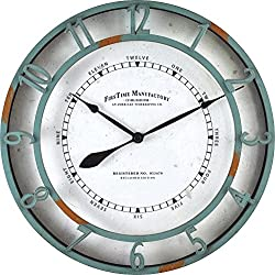FirsTime 40175 Timeworn Aqua Wall Clock, Turquoise