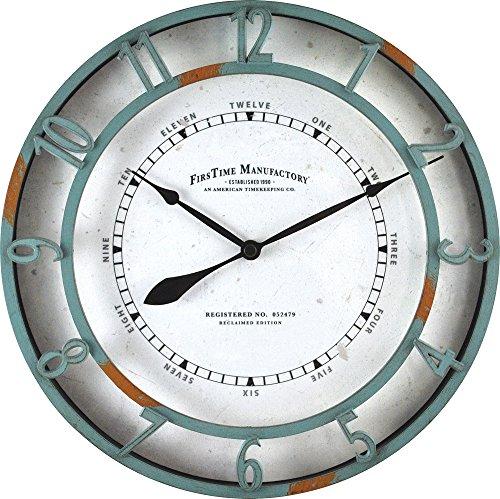 FirsTime 40175 Timeworn Aqua Wall Clock, Turquoise ()