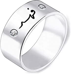 Casual Printed 925 Silver Ring for Men, Size 8