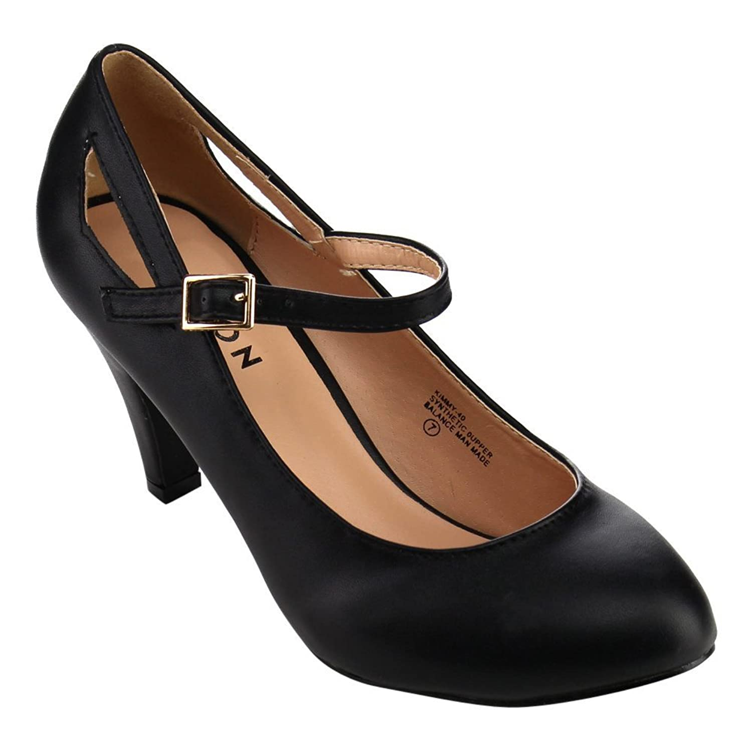 aa248a221621 durable modeling Beston CC02 Women s Round Toe Mid Heel Mary Jane Pumps Run  Half A Size