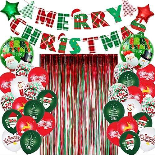 Frohe Weihnachten Dekoration Weihnachtsballon Set Weihnachtsfeiertag Party Neujahr Party Dekoration Weihnachtsregen Seide Regen Vorhang Banner Ballon Ornament Set