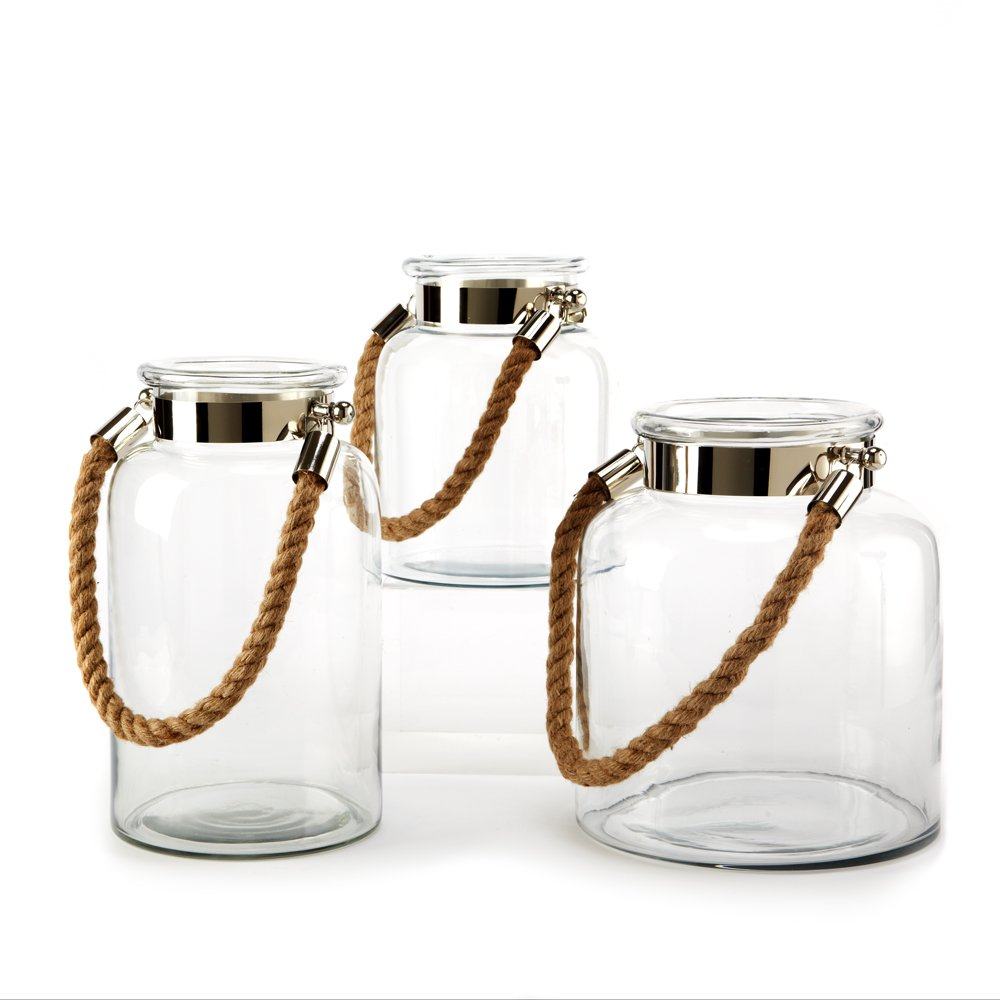Two's Company Lanterns with Rope Handle, Set of 3 by Two's Company
