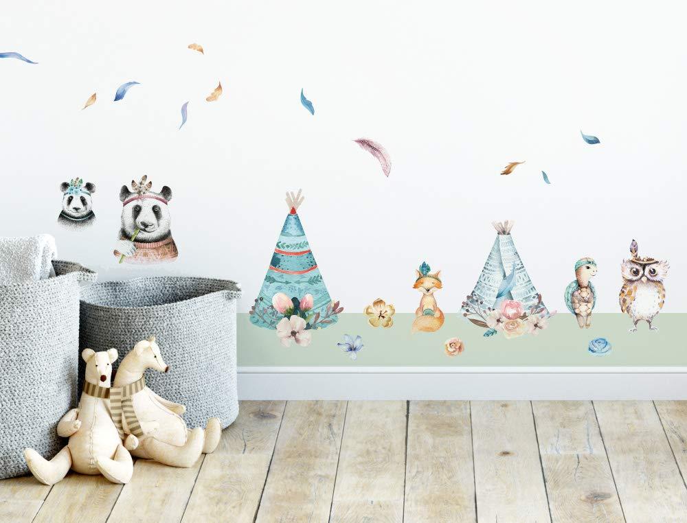 Federn Wandtattoo Kinderzimmer Deko Aquarell Waldtiere Indianer Zelt