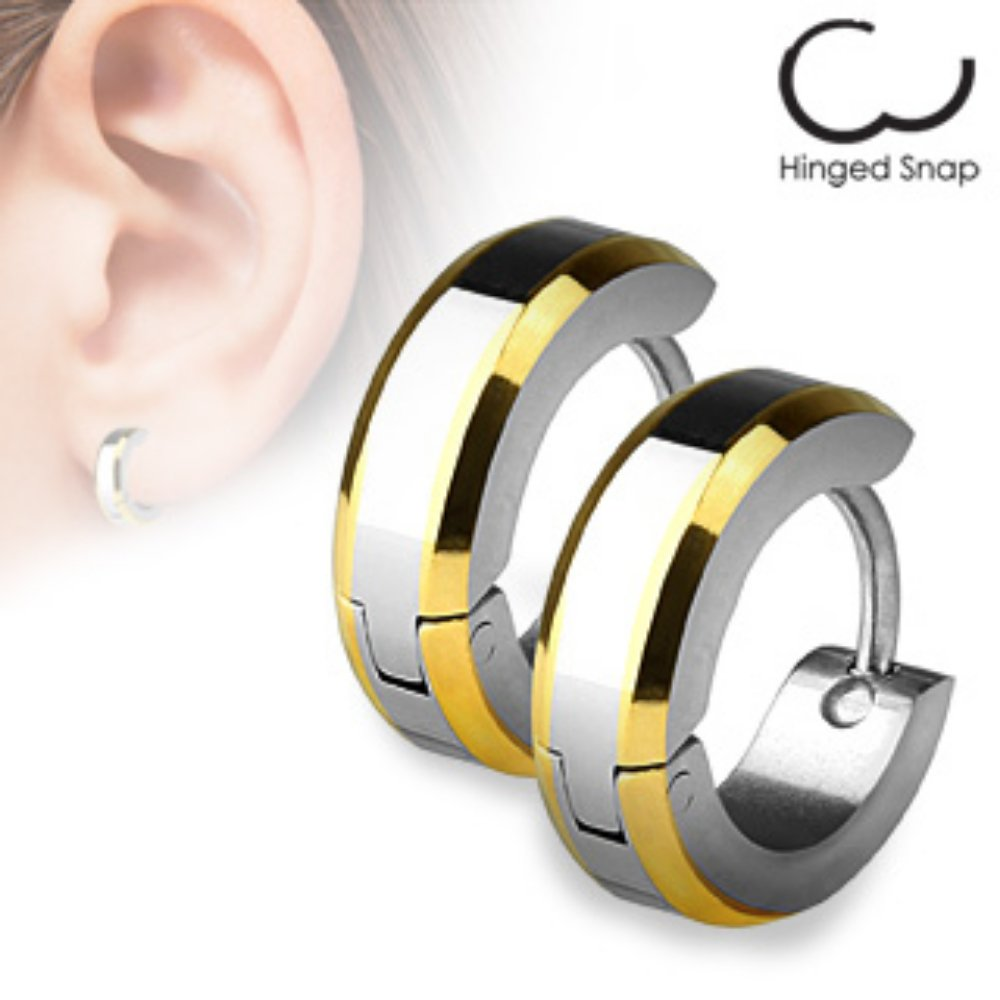 Sold by Pair 316L Surgical Steel Gold Plated Edges Hoop Freedom Fashion Earrings