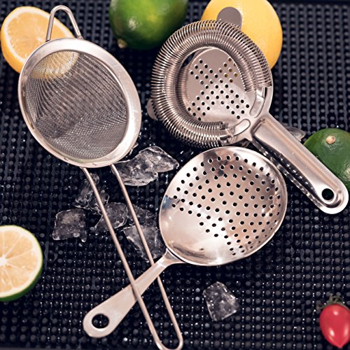 Cocktail Strainer Set for Professional Bartenders and Mixologists – Stainless Steel Hawthorne Strainer, Julep Strainer and Fine Mesh Conical Strainer by ALOONO (Image #6)