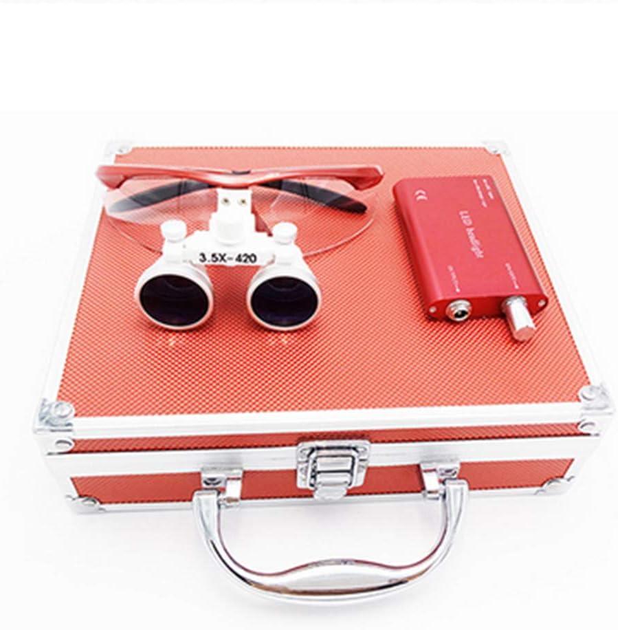 Colore Opzionale,Bianca Wmagnifiy Occhiali con Binocolo di Ingrandimento per Dentisti 3,5X 420 mm Adatto A Tutti I Tipi di Interventi Chirurgici