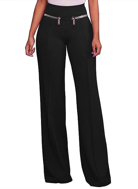 85e2c791a55ea LOSRLY Women Solid Color High Waist Zipper Wide Leg Palazzo Long Pants Plus  Size-Black