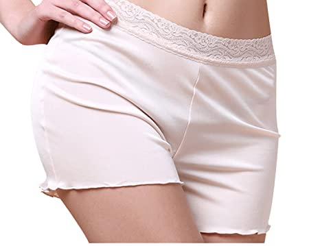 METWAY Women's Mulberry New Silk High Waisted Lace Boy Shorts ...