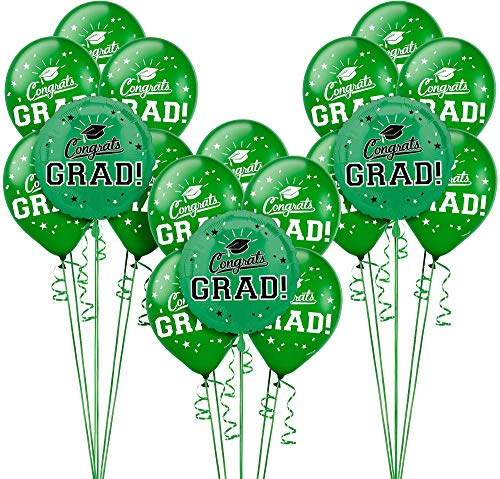 Party City Congrats Grad 18 Count Balloon Kit, 2019 Graduation Party Suppliess with Green Foil and Latex Balloons -