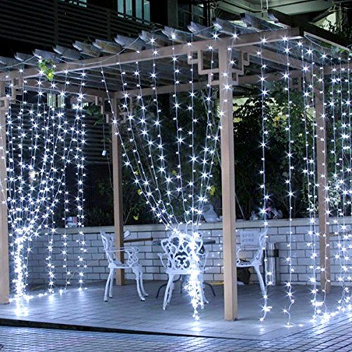 LE LED Curtain Lights, 9.8x9.8ft, 306 LED, 8 Modes, Plug in Twinkle lights, Cool White, Indoor Outdoor Decorative Wall Window String Lights for Bedroom, Party, Wedding Backdrop, Patio Décor and More (Christmas Really Cool Lights)