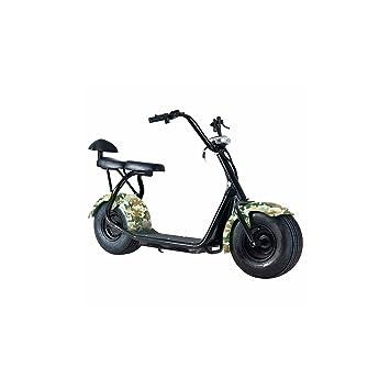 Citycoco Scooter Moto Eléctrica Harley 1000W Bluetooth Biplaza 25-35km/h (Camuflaje)