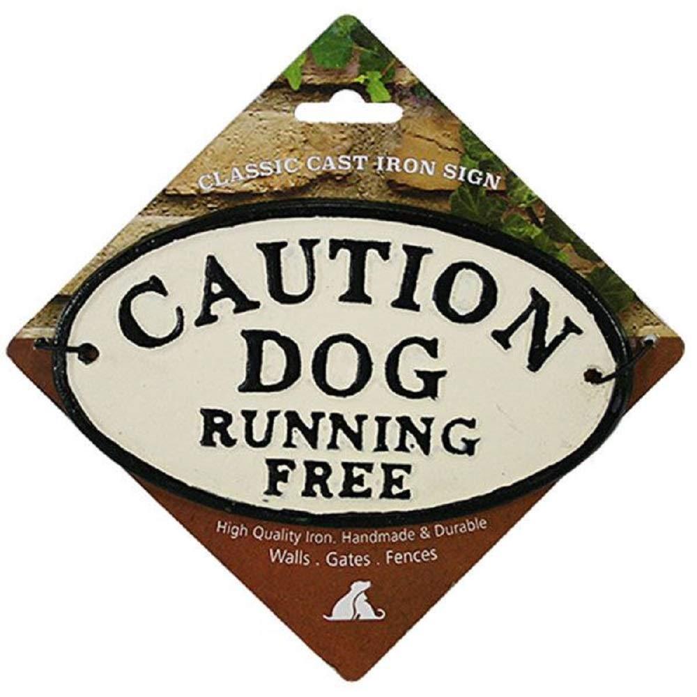 compra meglio PaylesswithSS - Cartello Ovale in ghisa ghisa ghisa con Scritta Caution Dog Running Free  promozioni