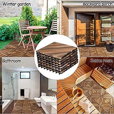 """Giantex 12"""" x 12"""" Floor Tiles, Interlocking Wood Deck Tiles, Patio Pavers, Indoor and Outdoor Flooring Decking Tiles, Diagonal Pattern, Brown"""