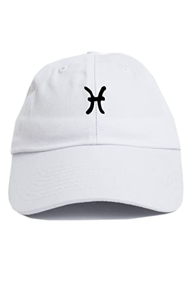 Pisces Zodiac Sign Symbol Unstructured Baseball Dad Hat New White