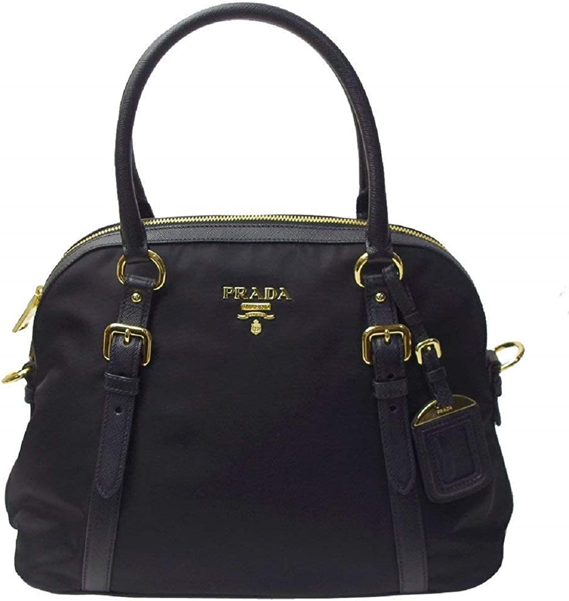 Prada Tessuto Nylon and Saffiano Leather Black Satchel 1BB013