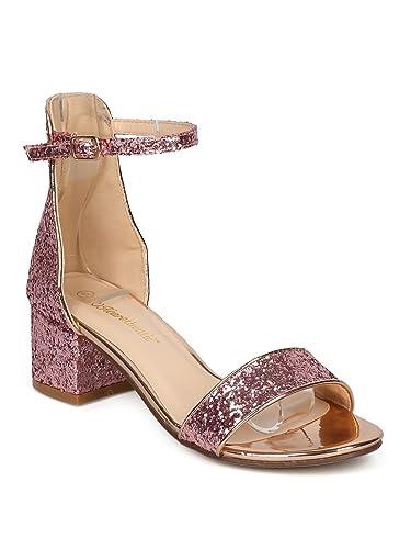 c14491527f3e Thentic Irene Women Open Toe Chunky Heel Ankle Strap Sandal HC55 - Pink  Glitter