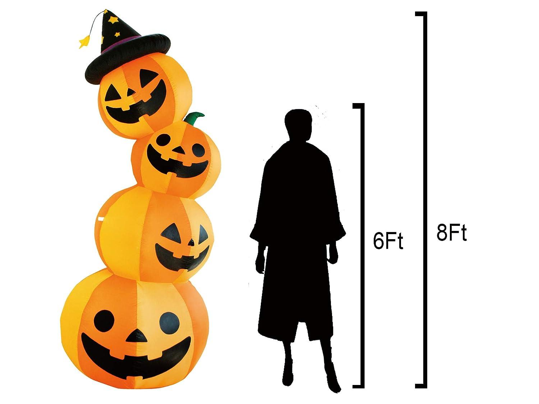 JF Deco 2.1m Halloween Decoration Gonflable Citrouille Patch Famille Lanterne d/écoration pour la Maison Cour pelouse Jardin Partie nt/érieur /à lexterieur