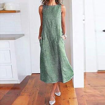 CAOQAO Elegant Damska Ballkleid Hochzeitskleid Festlich Dressurgerte Casual Striped Print äRmelloses Kleid Rundhalsausschnitt Leinen Tasche Langes Kleid: Odzież