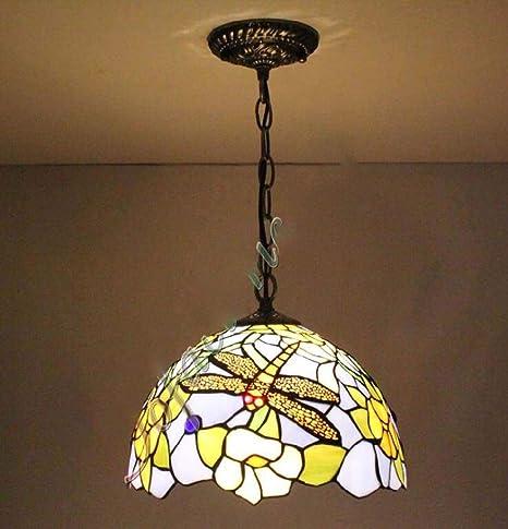 12 pulgadas estilo Tiffany lámpara colgante Dragonfly techo ...