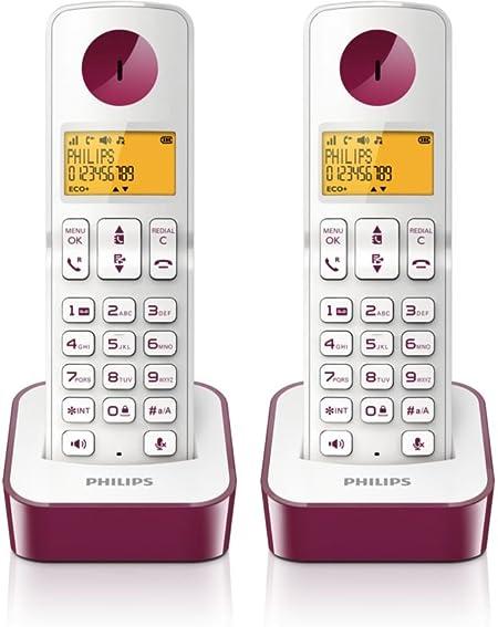 Philips D2102WP Duo - Teléfono fijo, color violeta: Amazon.es: Electrónica