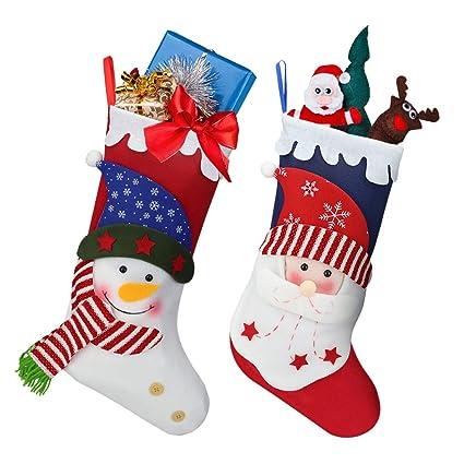 Oladwolf Calcetines de Navidad de 38 cm, Juego de 2 Calcetines de Navidad Santa/