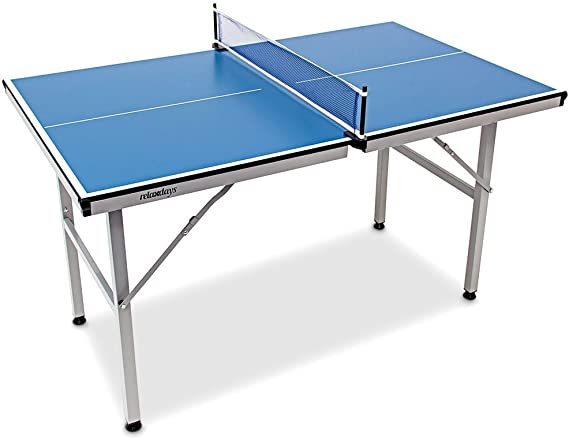 Relaxdays Mesa Ping Pong Exterior Plegable con Red, Niños, Azul ...