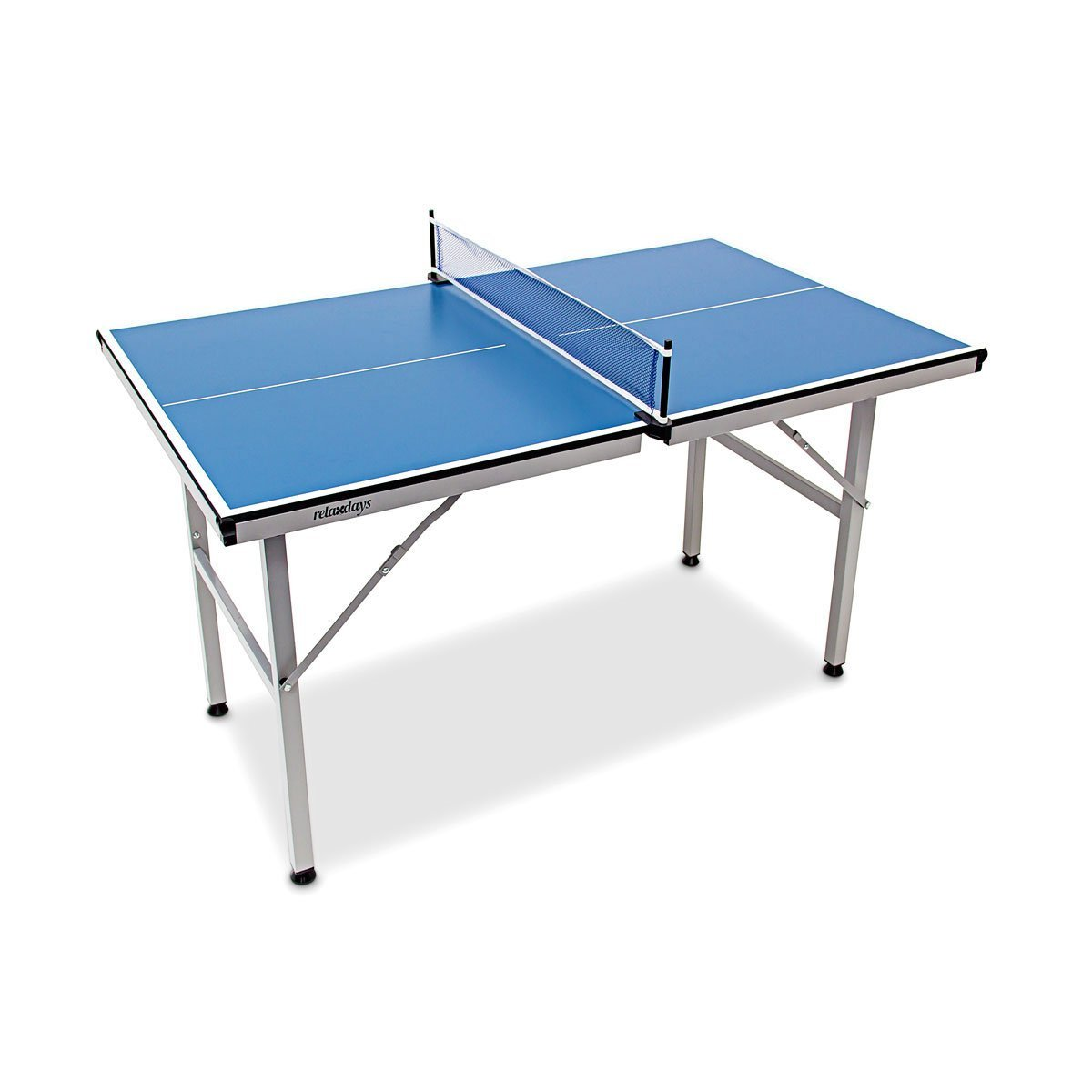 Relaxdays Table Tennis Table Midi 125 x 75 x 75 cm, Ping Pong Table for Indoors and Outdoors with Folding Legs and Net, Blue 10019101