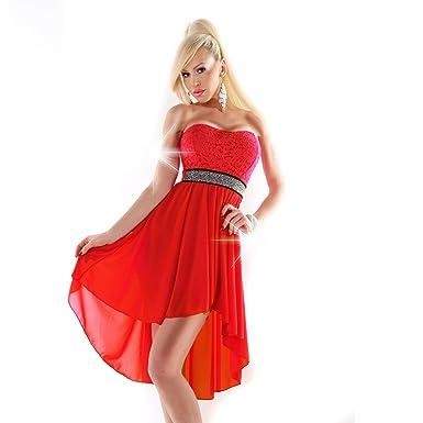 Vokuhila Kleid Spitze Strass Abendkleid Abiballkleid vorne kurz ...