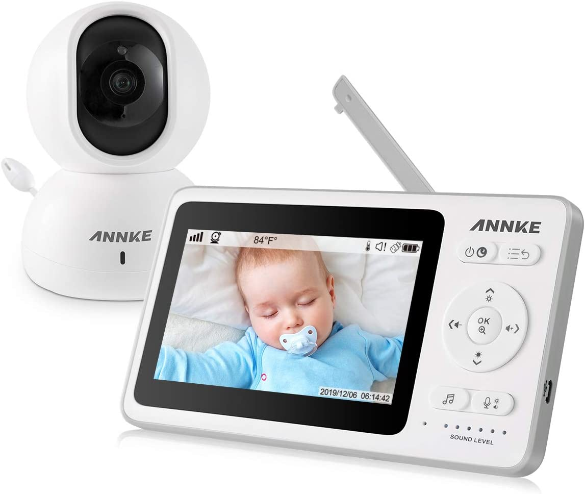 """Video Baby Monitor - ANNKE 4.3"""" Color Screen with Baby Camera and Audio, 1000ft Wireless Range and Remote Pan Tilt Zoom, Night Vision and Sound Activated, Two-Way Talk, Easy Use for Home Nursery"""