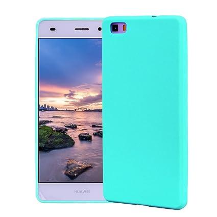 Funda HuaWei P8 Lite, Carcasa HuaWei P8 Lite Silicona Gel, OUJD Mate Case Ultra Delgado TPU Goma Flexible Cover para HuaWei P8 Lite - Azul cielo
