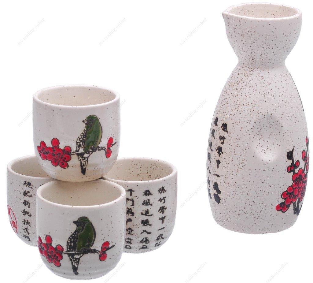 M.V. Trading MSST30V Ceramic Sake Set with Cherry Blossom, White with Small Sakura Flower, 6 Ounces Bottle / 2 Ounces Cups