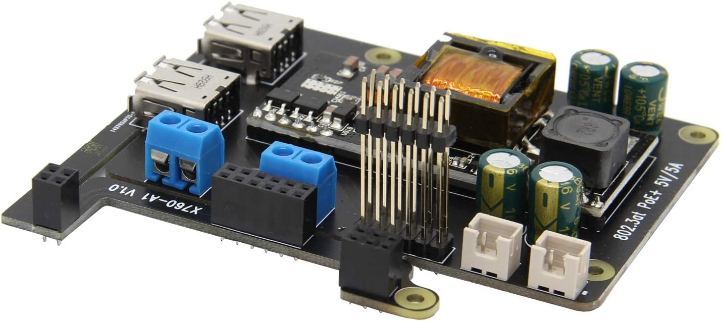 Raspberry Pi 4 Model B X760 V1.2 802.3at POE+ Expansion Board Compatible with Raspberry Pi 4 Model B//Raspberry Pi 3 Model B+ Raspberry Pi 4B//3B+ PoE HAT Max. 5V 5A Output