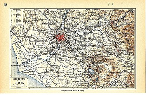 (Environs of Rome Italy 1912 original antique color lithograph city plan map)