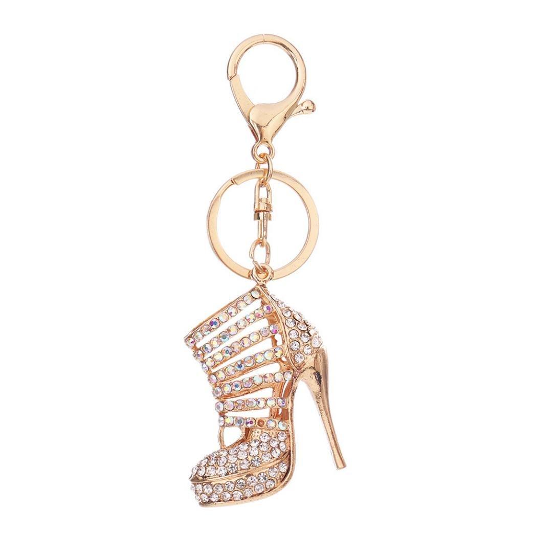 Bangle009 Clearance Sale Shiny High Heel Shoe Pendant Rhinestone Key Chain Ring Bag Purse Wallet Decor