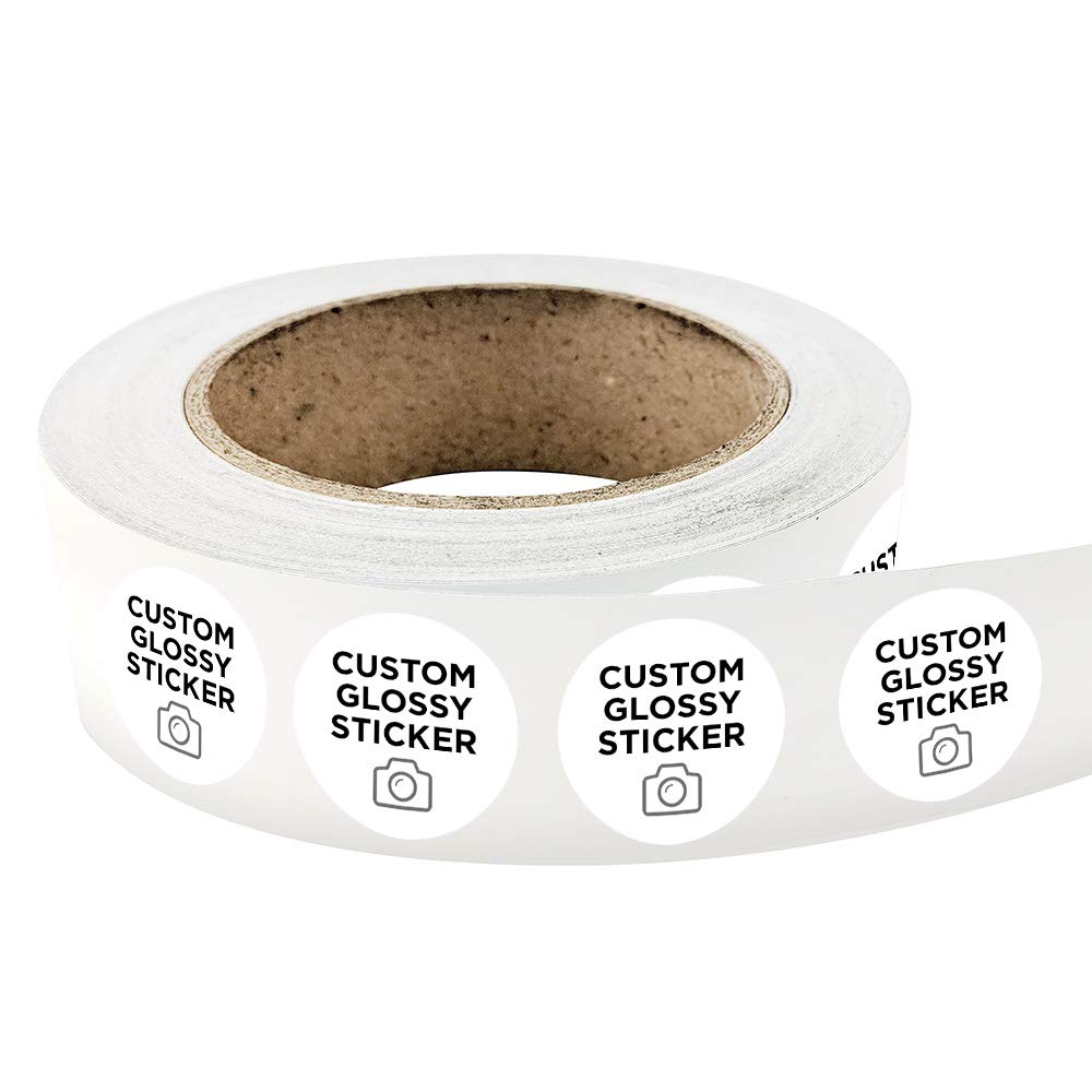 1000 round custom glossy durable roll label stickers 2 x 2 for products packaging bottles branding or events upload your own image logo or design