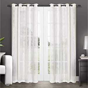 Exclusive Home Curtains Penny Window Curtain Panel Pair with Grommet Top, 50x96, Off-White, 2 Count