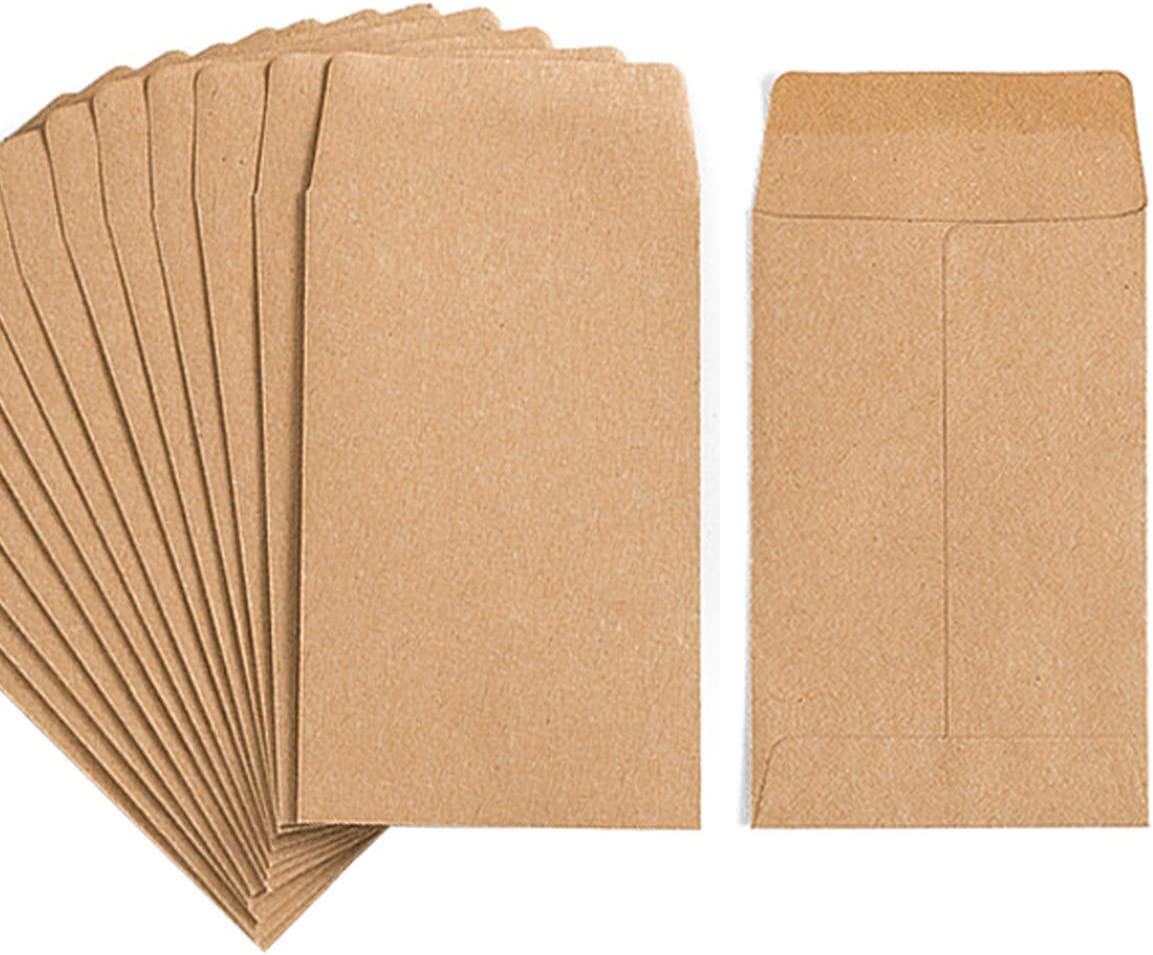 100 PCS Seed Envelopes Kraft Seed Paper Bags Mini Coin Packets Envelopes