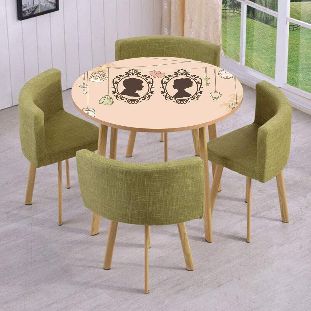 iPrint Round Table/Wall/Floor Decal Strikers/Removable/Vintage Silhouette Frames Married Couple French Style Design/for Living Room/Kitchens/Office Decoration