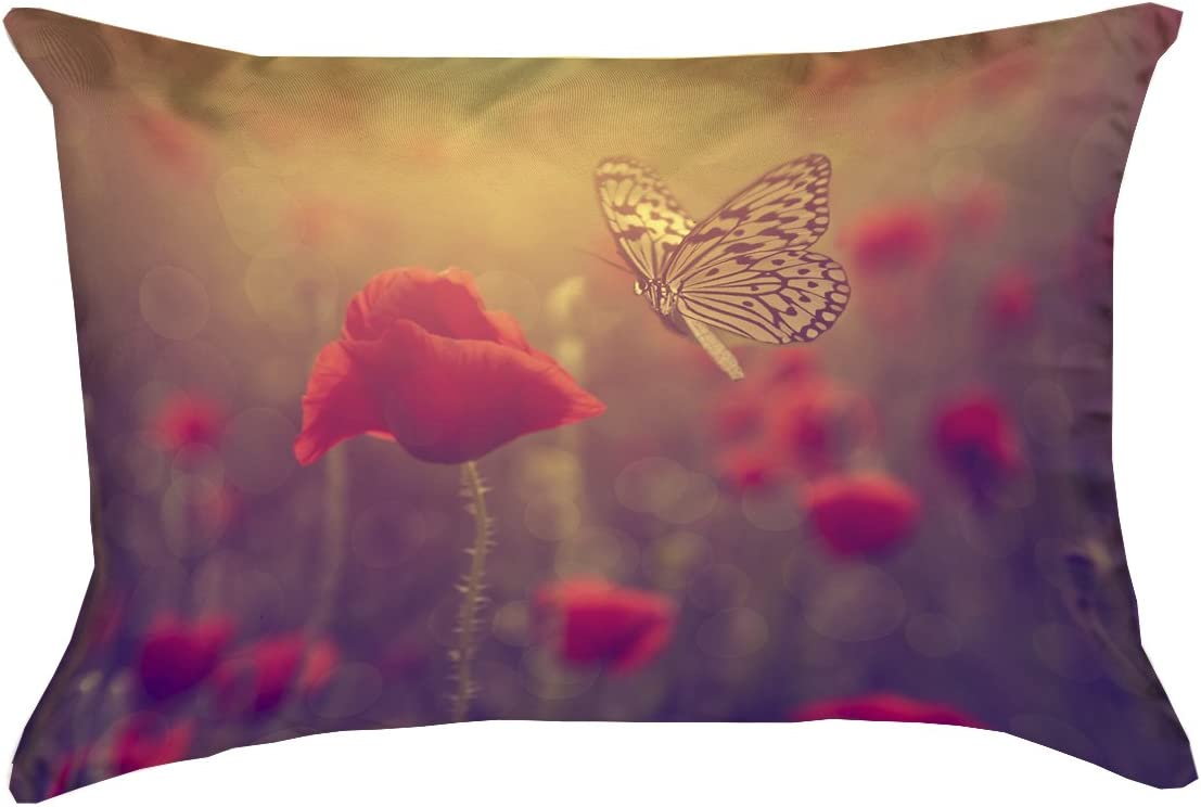 Pillow-Faux Linen Updated Fabric 26 x 26 Double Sided Print with Concealed Zipper ArtVerse Justin Duane Butterfly and Rose Pillow Cover Only