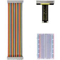 KEYESTUDIO Raspberry Pi GPIO Breakout Starter Kit, Assembled Pi Breakout + Rainbow Ribbon Cable + 400 Tie Points…