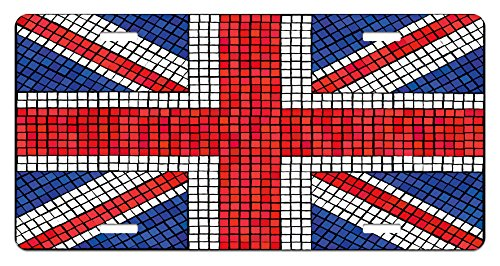 - Ambesonne Union Jack License Plate, Mosaic Tiles Inspired Design British Flag National Identity Culture, High Gloss Aluminum Novelty Plate, 5.88 L X 11.88 W Inches, Royal Blue Red White