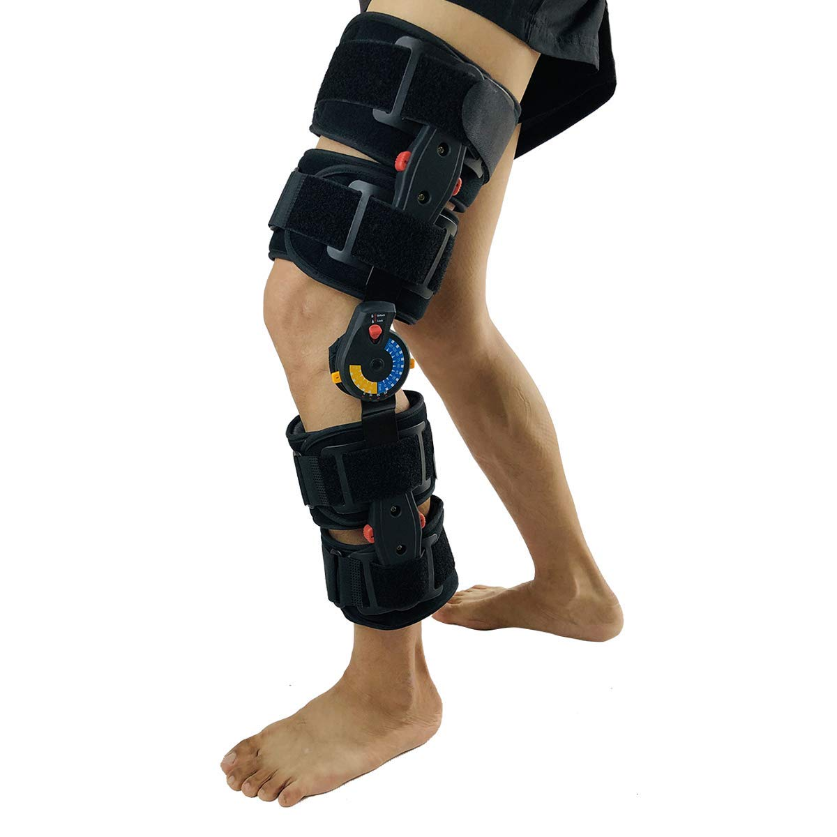 Orthomen Post Op Knee Brace After Surgery, Adjustable Medical Orthopedic Support Stabilizer, Hinged ROM Knee Brace for Recovery Stabilization, Size: Universal Standard