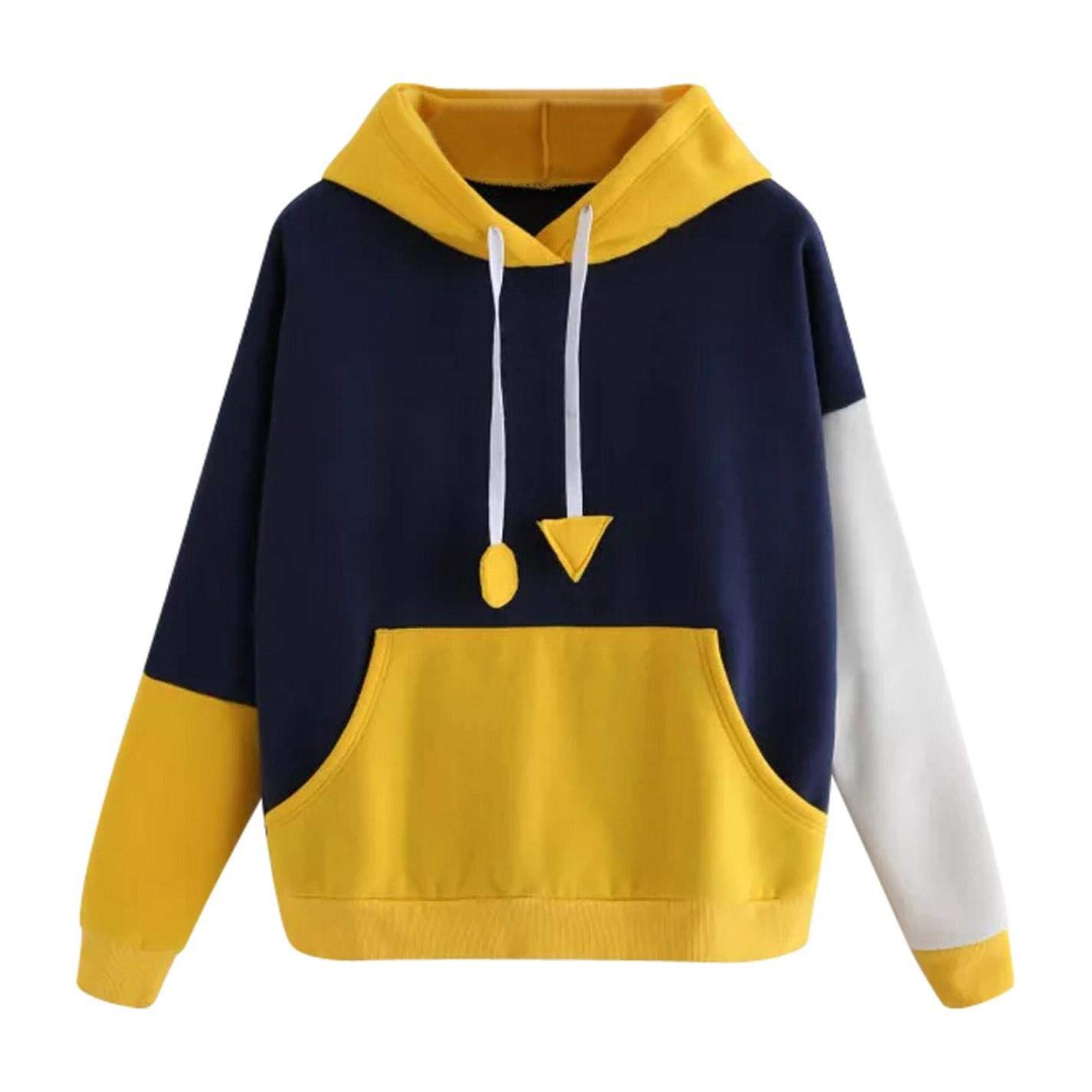 IUtan Women Streetwear Color Block Pocket Korean Style Hoodie Sweatshirt at Amazon Womens Clothing store: