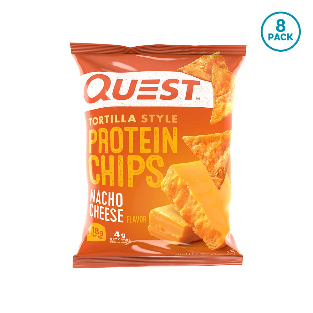 Quest Nutrition Tortilla Style Protein Chips, Nacho Cheese, Low Carb, Gluten Free, Baked, 8 Count by Quest Nutrition