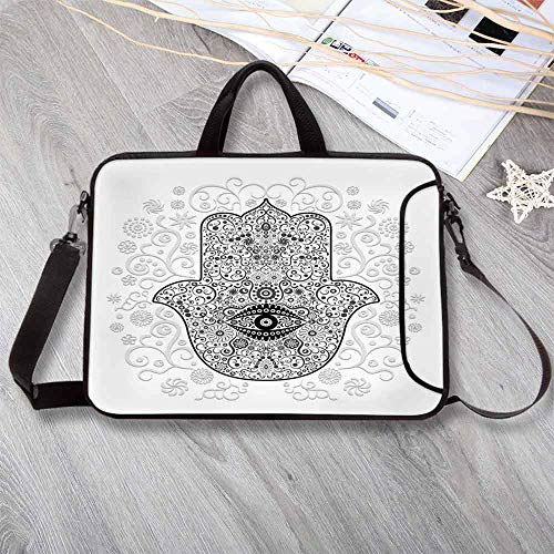 - Hamsa Lightweight Neoprene Laptop Bag,Divine Protection Magical Good Luck Charm on Gentle Floral Spring Backdrop Laptop Bag for Laptop Tablet PC,15.4